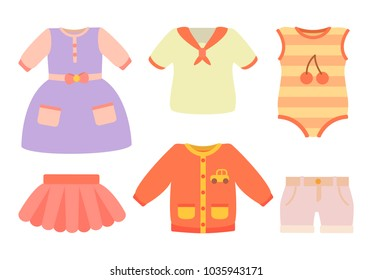 Baby clothes poster with set of dress, skirt and t-shirts with pocket and car, bodysuit and cherry print, baby clothes isolated on vector illustration