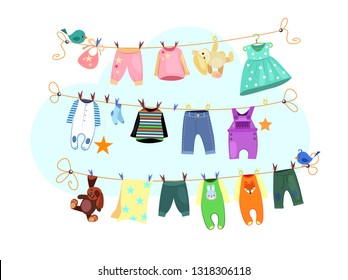 Baby clothes set. Drying clothes collection. Can be used for topics like laundry, housework, infant clothing