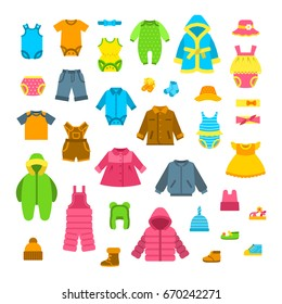 Baby clothes vector illustrations set. Newborn kid outfit flat icons. Little girl and boy clothing cartoon elements. Child fashion collection. Garments for all seasons. Apparel, underwear, hats, shoes