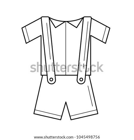 153ea3c7c0fe Baby clothes vector line icon isolated on white background. Baby shirt and  shorts with suspenders line icon for infographic