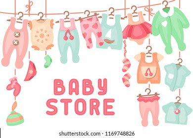 Baby clothing hanging on ropes and inscription baby store. Flat style vector illustration. Suitable for advertising