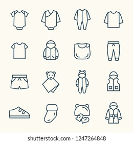 Baby clothing line icons