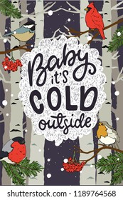 Baby its Cold Outside hand lettering. Hand drawn illustration of the winter scene with cute birds sitting on the branches in a forest. Xmas card illustration.