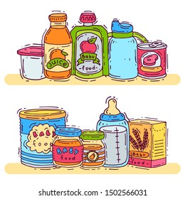 Baby complementary food vector illustration. First meal for babies is standing on shelves. Baby bottles, puree jars, sippy cups and boxes with porridge