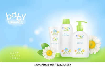 Baby cosmetic ads template.  Chamomile shampoo, cream and oil packagings. Realistic mockup, pretty kids design. Vector