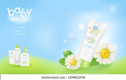 Baby cosmetic ads template.  Chamomile shampoo, cream and oil packagings. Three different tubes. Realistic mockup, pretty kids design. Vector