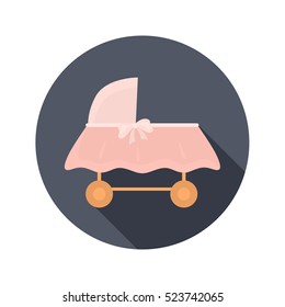 Baby cot color icon. Flat design for web and mobile