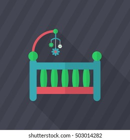 Baby cot icon , Vector flat long shadow design.