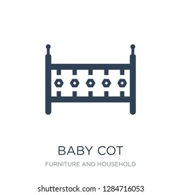 baby cot icon vector on white background, baby cot trendy filled icons from Furniture and household collection, baby cot vector illustration