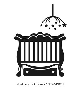 Baby cot with laundry box icon. Simple illustration of baby cot with laundry box vector icon for web design isolated on white background