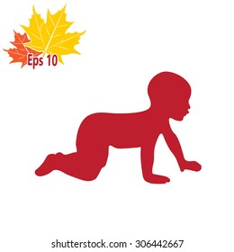 a baby crawling, silhouette vector