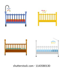 Baby crib cradle bed icons set. Flat illustration of 4 baby crib cradle bed vector icons isolated on white