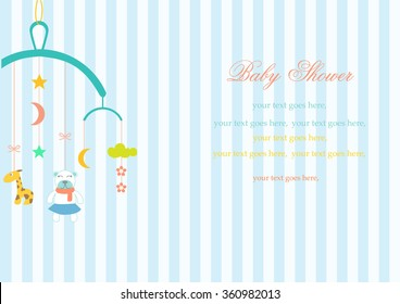 Baby crib hanging toy on stripe backgrounds