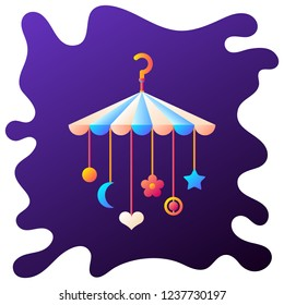 Baby crib hanging toys gradient flat icon with fluid background.