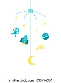 Baby crib mobile. vector illustration