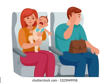 baby cries in transport, he is tired to go. passenger is not satisfied with the noise. mom is tired.