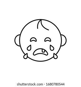 Baby crying icon. Simple line, outline vector elements of child for ui and ux, website or mobile application