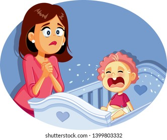 Baby Crying Next to Worried Mother Vector Illustration. Newborn in tears and desperate new mom trying to calm him down