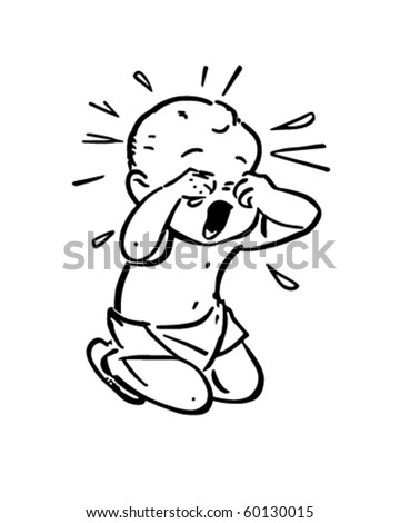 Baby Crying Retro Clip Art Stock Vector Royalty Free 60130015