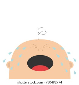 Baby crying tears. Kid face looking up. Cute cartoon sad character. Funny head with hair, eyes, nose, open mouth. Its a boy. Greeting card template. Flat design. White background. Isolated. Vector