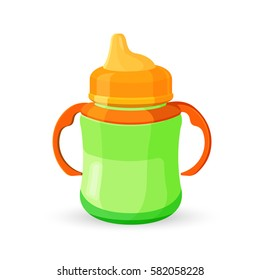 Baby cup bottle isolated on white background. Baby sippy reservoir green and orange translucent drinking bowl with milk or juice with two handles realistic vector illustration
