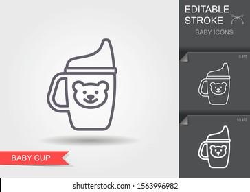 Tasse Baby. Rahmensymbol mit bearbeitbarem Strich. Lineares Kinderpflegesymbol mit Schatten