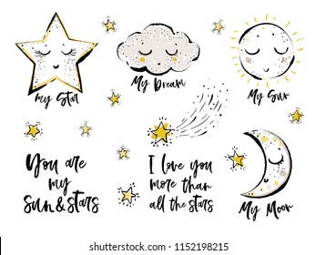 Baby cute print elements. Cloud, cute star, sun, moon, You are my sun and stars text, I love you more than all the stars text, falling star, little stars. Simple doodle illustration. White background.