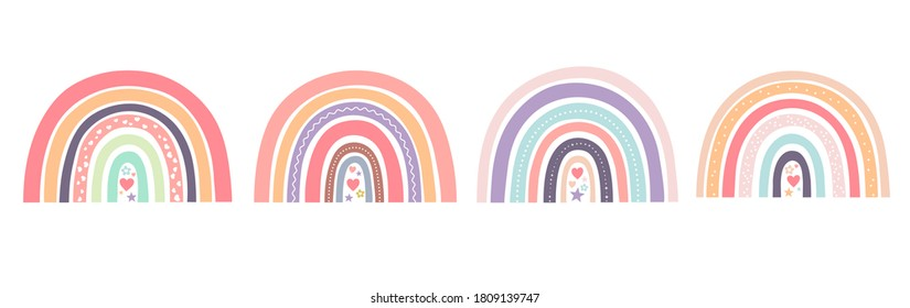 Baby cute rainbows with hearts Scandinavian style for fabric, posters, prints, cards.