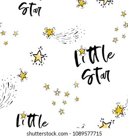 Baby cute sky seamless pattern background with little star text and golden stars. Doodle hand drawn illustration in watercolor scandinavian style. Black, gold yellow, gray graphic on white background.