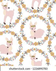 baby dear fawn cute seamless pattern vector art kids