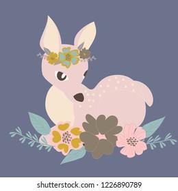 baby dear fawn cute  vector art kids