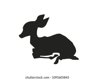 baby deer lying, silhouette, vector, white background