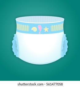 Baby diaper with cartoon toys. Vector illustration.