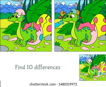 Baby dinosaur hatching. Hide 10 differences. Educational game for children. Cartoon vector illustration.