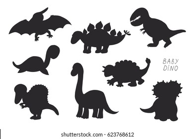 Baby dinosaurs cute vector doodle silhouette illustrations set.