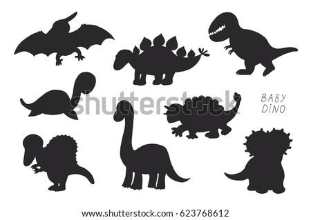 Baby Dinosaurs Cute Vector Doodle Silhouette Vector de stock (libre ...