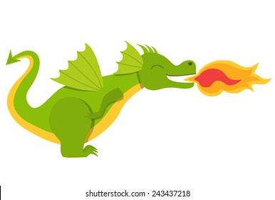 Baby dragon throwing fire vector