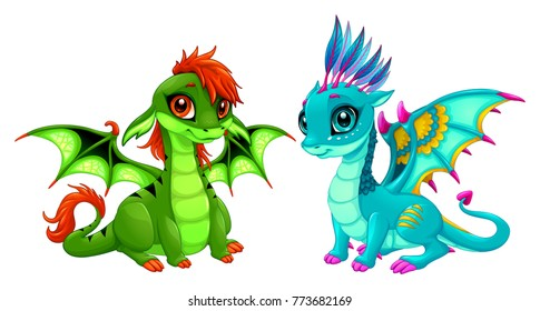 Baby dragons with cute eyes. Cartoon vector isolated characters.