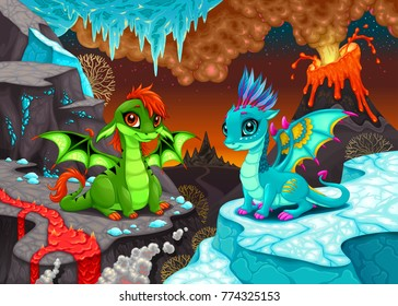 Baby dragons in a fantasy landscape with fire and ice. Cartoon vector illustration.