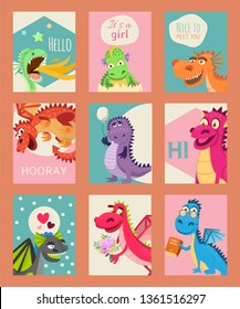 Baby dragons set of birthday or invitation cards or banners vector illustration. Cartoon funny little dragons with wings. Fairy dinosaurs with book, baloon, flower. Nice to meet you, hooray.