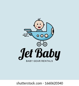 The baby drives a jet shaped baby basket. rocket and baby. cartoon logo design.