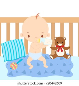 Baby Eating Formula From a Bottle Sitting in Crib Vector Illustration
