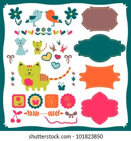 Baby elements with animals for scrapbook