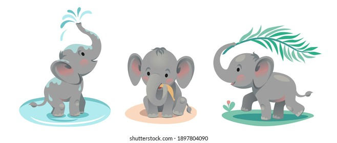 Baby elephant bathes in a pond, lets out a fountain with its trunk, runs with a palm leaf, plays, sits and eats a banana