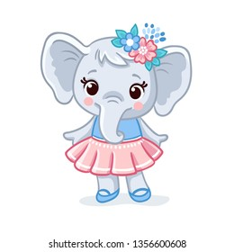 Baby elephant in a beautiful dress. Vector animal illustration. Cute elephant kid in cartoon style isolated.