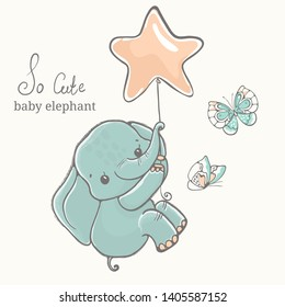 Baby elephant with butterfly flying on baloon, illustration, cute animal drawing, perfect for cards, coloring books, posters, scrapbooking and party design