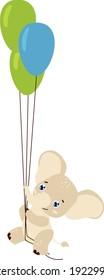 Baby elephant flying on ballons vector clipart flat cartoon style