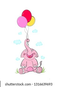 baby elephant playing  in love .painting baby elephant vector. babay elephan chracter.