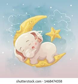baby elephant sleeping on the moon. hand drawn cartoon vector art