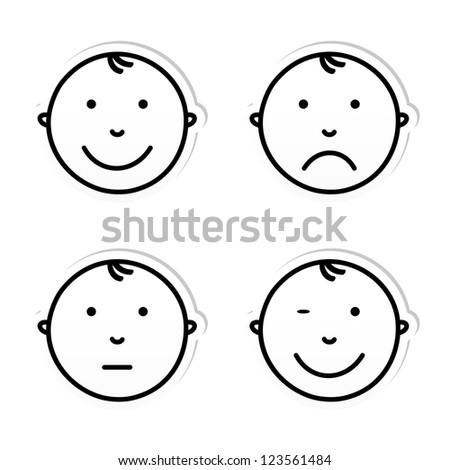 Baby Face Different Emotions Vector Illustration Stock Vector